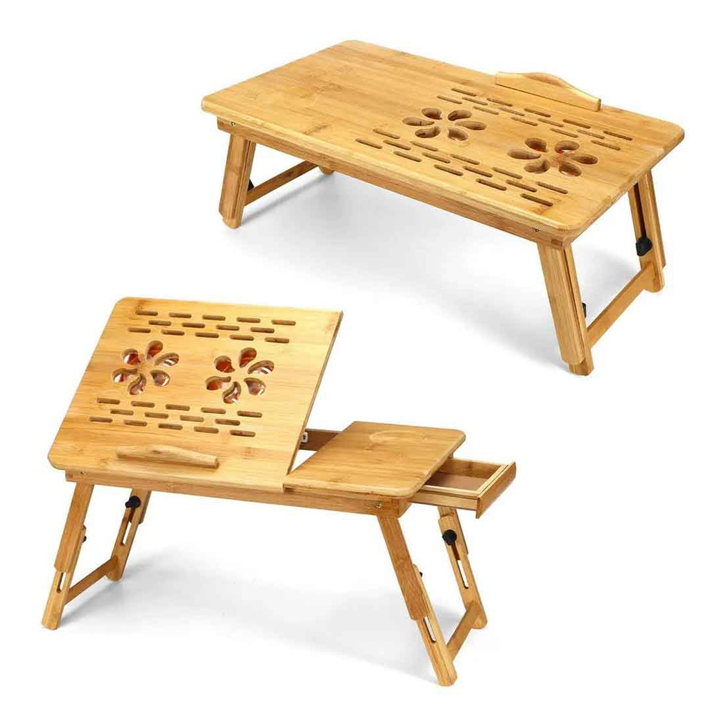 Foldable Wooden Laptop Table With Dual Cooling Fan